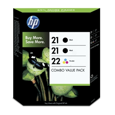 HP multipak nr. 21 + 21 + 22 zwart color SD400AE